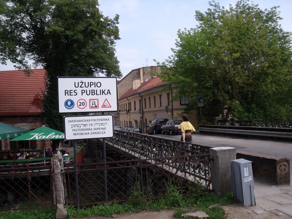 ウジュピス「芸術家区」入口の看板