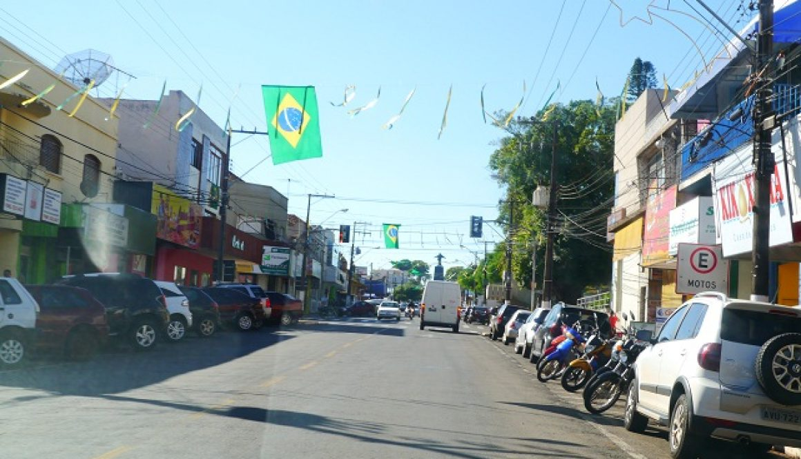 copa1-街の通りにあらわれたブラジル国旗の様子